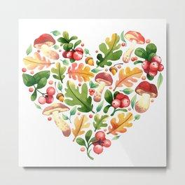 Leaves, berries and mushrooms Metal Print