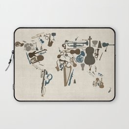 Musical Instruments Map of the World Laptop Sleeve