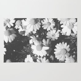 Black and White Flowers Rug