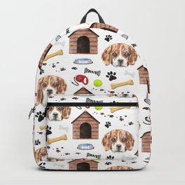 Beagle Face Half Drop Repeat Pattern Backpack
