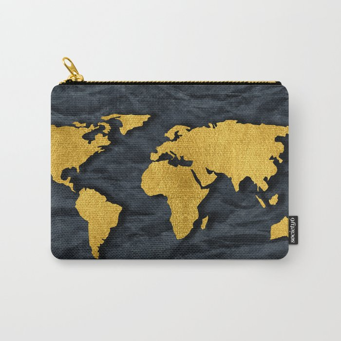 Metallic Gold Leaf Map on paper Carry-All Pouch
