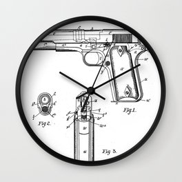 Colt Pistol Patent - Browning 1911 Colt Art - Black And White Wall Clock