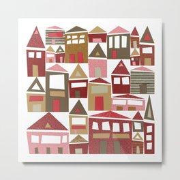 Peppermint Village Metal Print