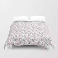 water colour Duvet Covers featuring PINK & GRAY WATER COLOUR BRANCHES by Annie Neusteter