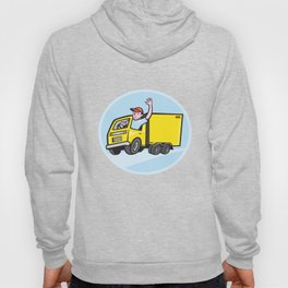Delivery Truck Driver Waving Cartoon Hoody