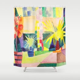 "August Macke ""Garten am Thuner See (Garden on Lake Thun)"" (I) Shower Curtain"