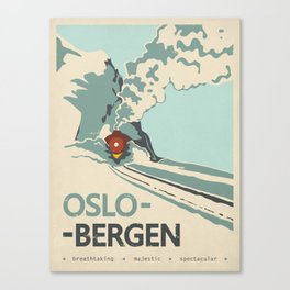 Oslo-Bergen train ride, Norway, Scandinavia, Travel poster Canvas Print