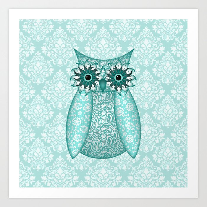 Turquoise Owl Collage Art Print
