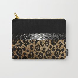 ANIMAL MAGNETISM BLACK AND BROWN Carry-All Pouch