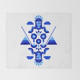 Libra in Blue Throw Blanket