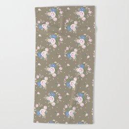 Heirloom Rose - Raw Umber Beach Towel