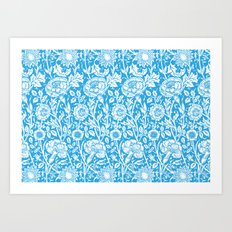 "William Morris Floral Pattern | ""Pink and Rose"" in Turquoise Blue and White Art Print"