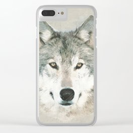 The Gray Wolf - Sketch Clear iPhone Case