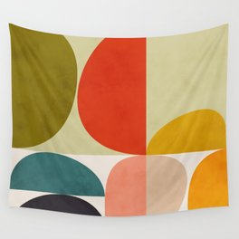 shapes of mid century geometry art Wall Tapestry