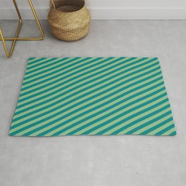 Teal & Dark Sea Green Colored Striped/Lined Pattern Rug