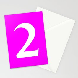 2 (WHITE & FUCHSIA NUMBERS) Stationery Cards