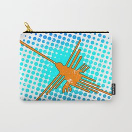 Distressed Nazca Lines Hummingbird On Gradient Blue Galaxy Carry-All Pouch