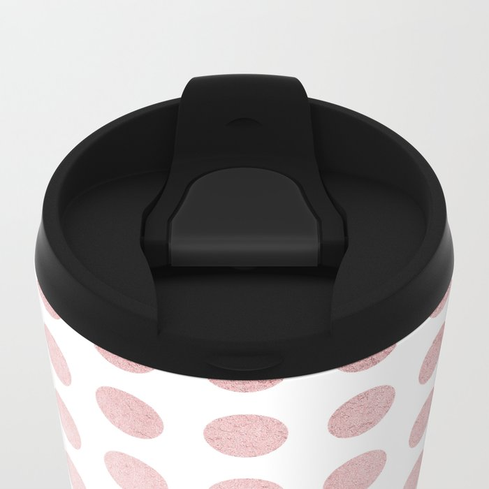Simply Polka Dots in Rose Gold Sunset and White Metal Travel Mug