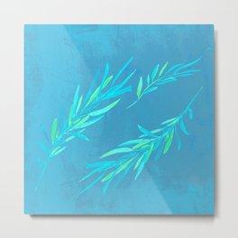 Eucalyptus leaves blue Metal Print
