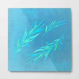 Eucalyptus leaves blue Metal Print