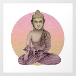 Buddha with cat 6 Art Print