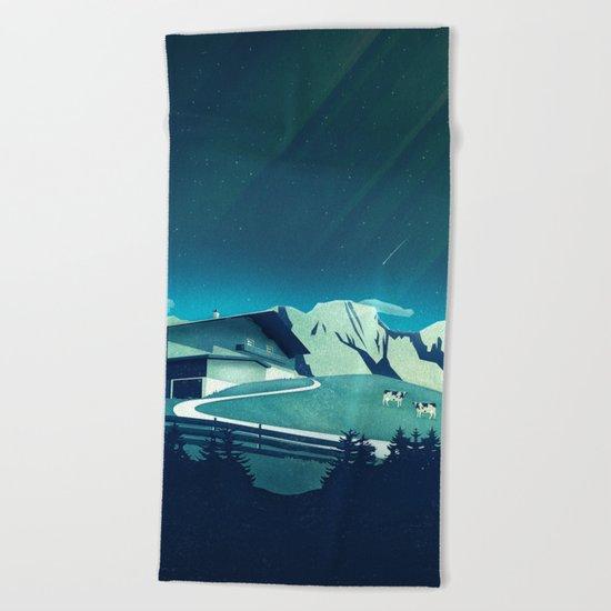 Alpine Hut Beach Towel