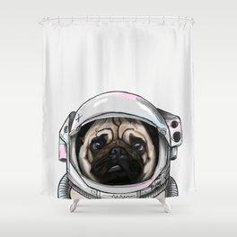 Pug Astronaut Shower Curtain