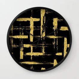 Gold glitter brush on black Wall Clock