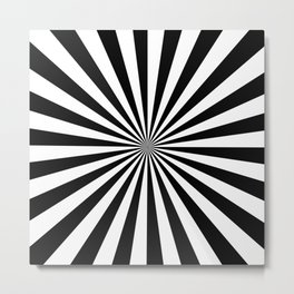 Black and White Starburst Pattern Metal Print