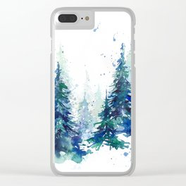 Watercolor winter fir forest Clear iPhone Case