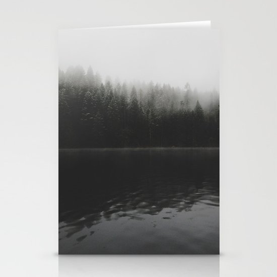 Verticle Frosted Trees Lake Stationery Cards