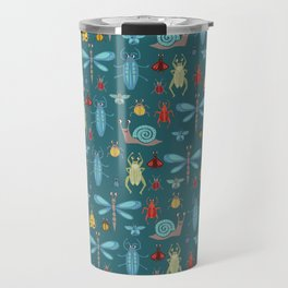 Little Bugs and Mini Beasts on Teal Travel Mug
