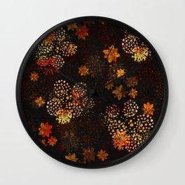 Orange & brown floral pattern Wall Clock