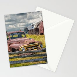 Pickup Truck behind wooden fence in a Rural Landscape Stationery Cards