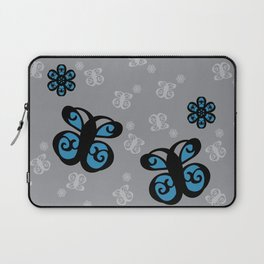 Swirly Butterfly and Flower Design Black, Grey, Blue Color Splash Laptop Sleeve