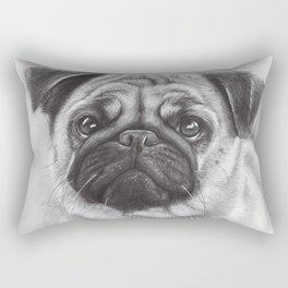 Cute Pug Dog Animal Pugs Portrait Rectangular Pillow
