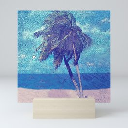 Stormy day at the beach Palm trees Mini Art Print