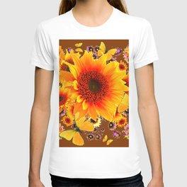 GOLDEN SUNFLOWER BUTTERFLIES MODERN ART DESIGN T-shirt