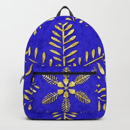 DP044-4 Gold snowflakes on blue Backpack