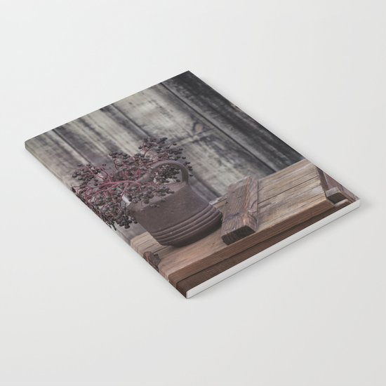Autumn Still Life with berries and candles Notebook