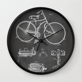 Bicycle Patent - Cyclling Art - Black Chalkboard Wall Clock