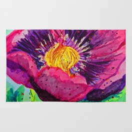 Poppy Flower Watercolor Rug