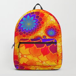 Golden Lotus Flower Mandala Pattern Kaleidoscope Backpack