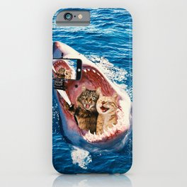 Cat Selfie - Selfie in the Great White Shark Jaw iPhone Case