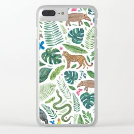 Jungle/Tropical Pattern Clear iPhone Case