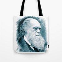 darwin Tote Bags featuring Charles Darwin by Zandonai