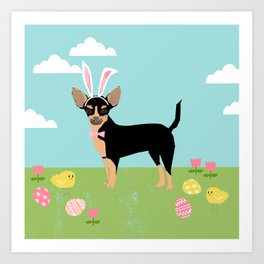 Chihuahua dog breed easter bunny dog costume pet portrait spring chihuahuas black and tan Art Print