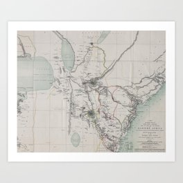 Beautiful 1870 Vintage Map of Eastern Africa Art Print