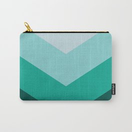 Green Teal Chevron Stripes Carry-All Pouch
