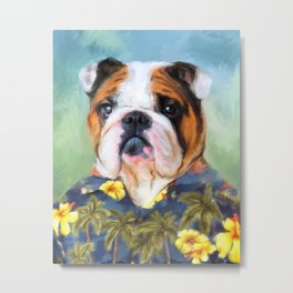 Chic English Bulldog Metal Print